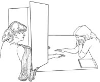 Drawing by Pat Linse of Emily Rosa's therapeutic touch test